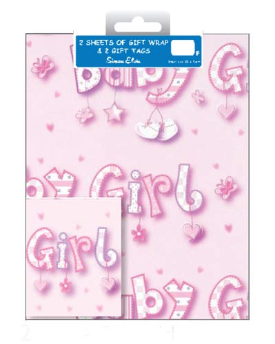 Baby Girl Gift Wrap And Tag Set