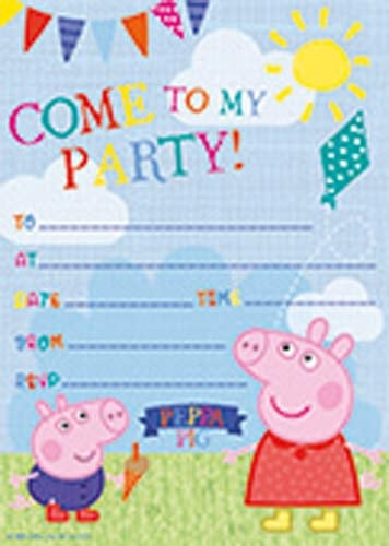 Peppa Pig Party Invitations And Envelopes (20 Pack)