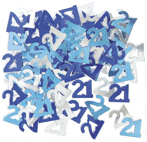 Blue And Silver 21 Metallic Confetti 14g