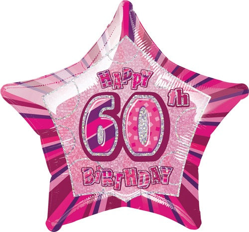 Happy 60th Birthday Pink Glitz Helium Filled Foil Balloon