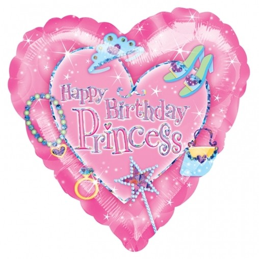 Happy Birthday Princess Heart Shape Helium Filled Foil Balloon