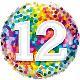 12th Birthday Rainbow Confetti Helium Filled Foil Balloon