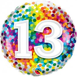 13th Birthday Rainbow Confetti Helium Filled Foil Balloon