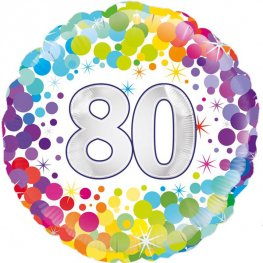 80th Birthday Colourful Confetti Helium Filled Foil Balloon