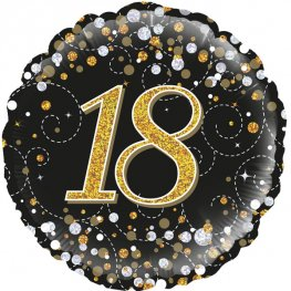 18th Sparkling Fizz Black And Gold Helium Filled Foil Balloon