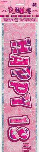 Pink Glitz Happy 18th Birthday Banner