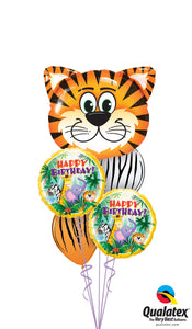 Tiger And Jungle Friends Birthday Balloon Cluster