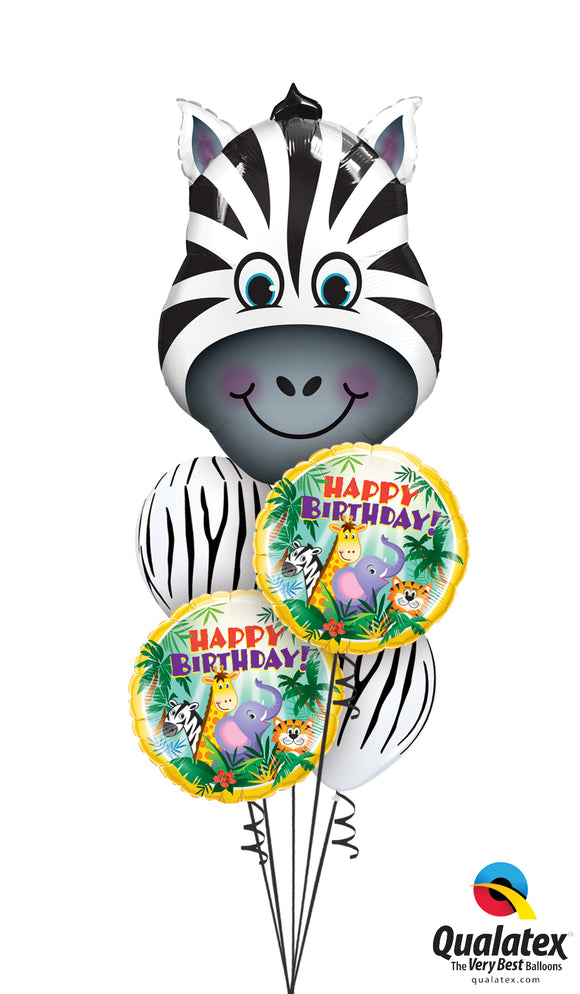 Zebra And Jungle Friends Birthday Balloon Cluster
