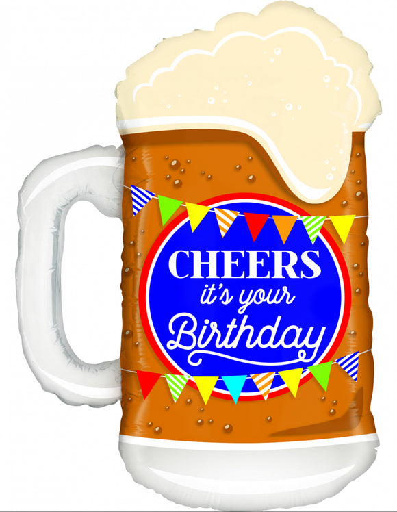 Cheers It's Your Birthday Beer Glass Supershape Helium Filled Foil Balloon
