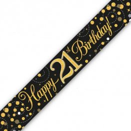 Happy Birthday 21st Sparkling Fizz Black And Gold Banner