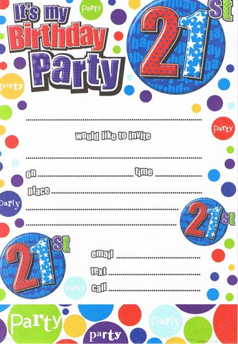 21st Birthday Blue/Red Invitations And Envelopes (20 Pack)