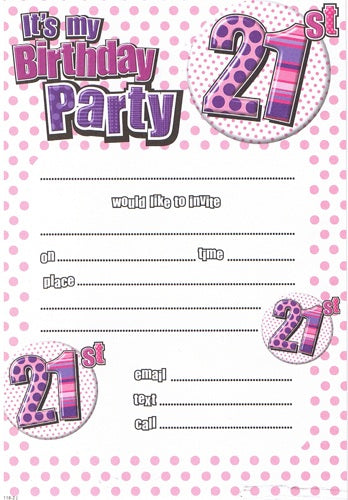 21st Birthday Pink/Purple Invitations And Envelopes (20 Pack)