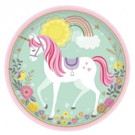 Magical Unicorn Paper Party Plates x8