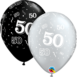 50th Birthday Black And Silver Latex Balloons x10 (Sold loose)