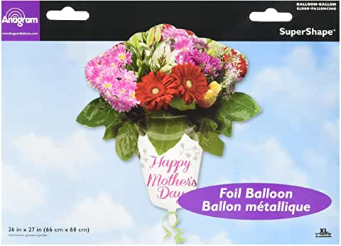 Happy Mother's Day Flower Vase Supershape Helium Filled Foil Balloon