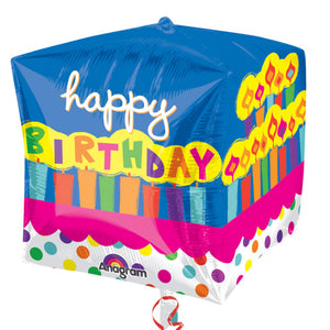 Happy Birthday Cubez Helium Filled Foil Balloon