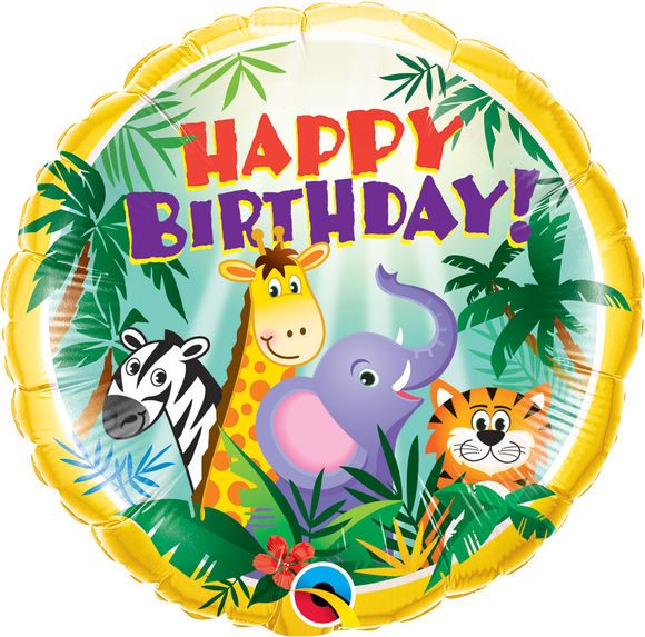 Jungle Friends Happy Birthday Helium Filled Foil Balloon