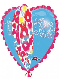 Happy Mother's Day Watercolour Heart Supershape Helium Filled Foil Balloon
