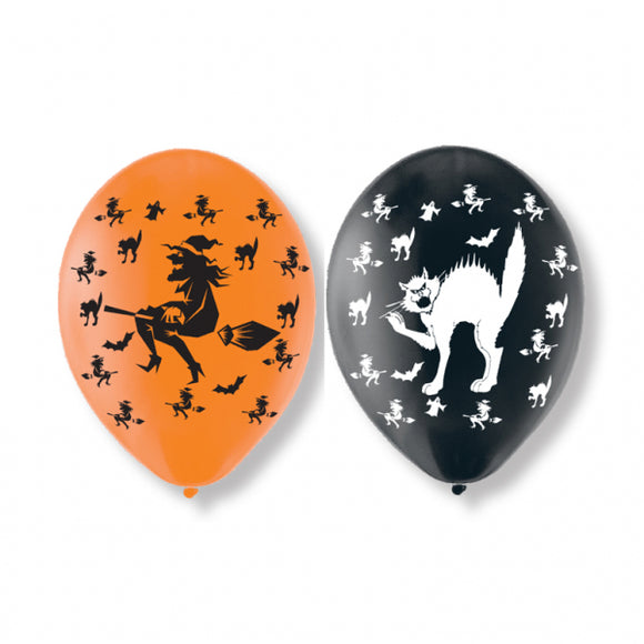 Witches And Cats Halloween Latex Balloon (6 Pack)