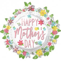 Happy Mother's Day Floral Supershape Helium Filled Foil Balloon