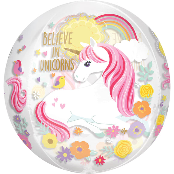 Believe In Unicorns Clear Orbz Helium Filled Foil Balloon