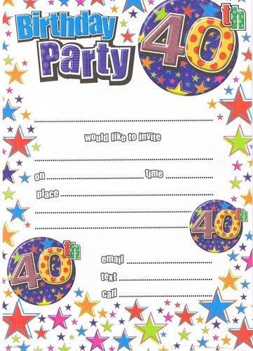 40th Birthday Multi Colour Invitations And Envelopes (20 Pack)