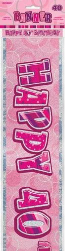 Pink Glitz Happy 40th Birthday Banner