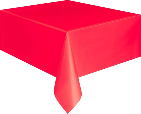 Red Rectangular Plastic Tablecover