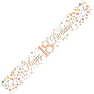 Happy 18th Birthday Sparkling Fizz White And Rose Gold Banner