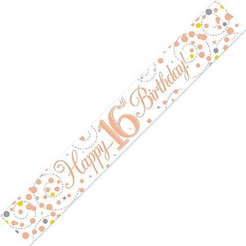 Happy 16th Birthday Sparkling Fizz White And Rose Gold Banner