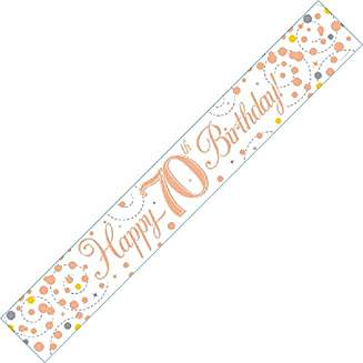 Happy 70th Birthday Sparkling Fizz White And Rose Gold Banner