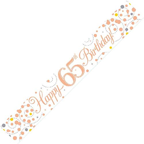 Happy 65th Birthday Sparkling Fizz White And Rose Gold Banner