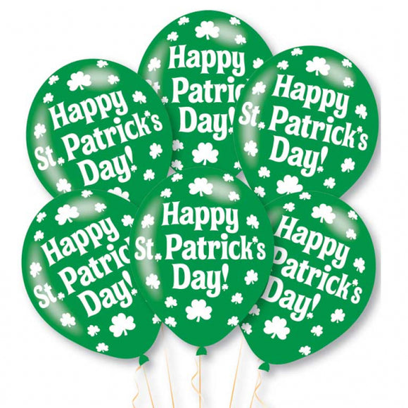 Happy St Patrick's Day Latex Balloons (6 Pack)