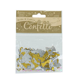 Bride And Groom Silver And Gold Metallic Confetti 14g