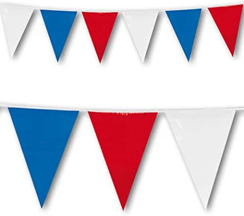 Red, White And Blue Pennant Flag Bunting 10m Long