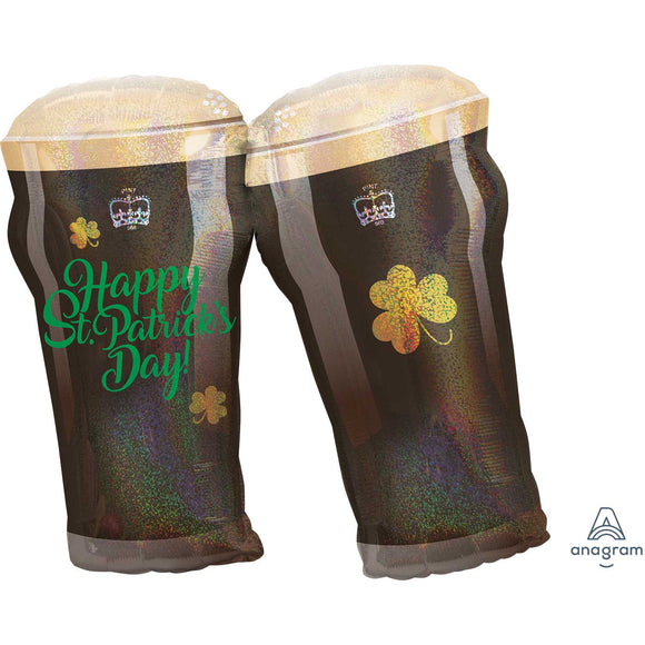 Happy St Patrick's Day Guinness Glass Helium Filled Supershape Foil Balloon