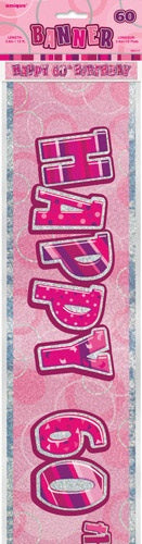 Pink Glitz Happy 60th Birthday Banner