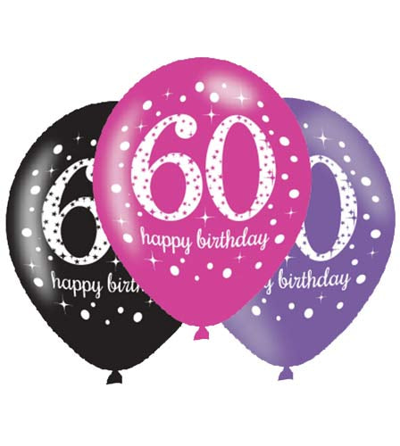 60th Birthday Pink/Purple/Black Latex Balloons (6 Pack)