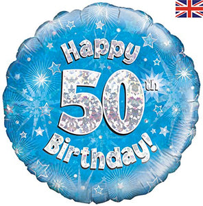 Happy 50th Birthday Blue Helium Filled Foil Balloon