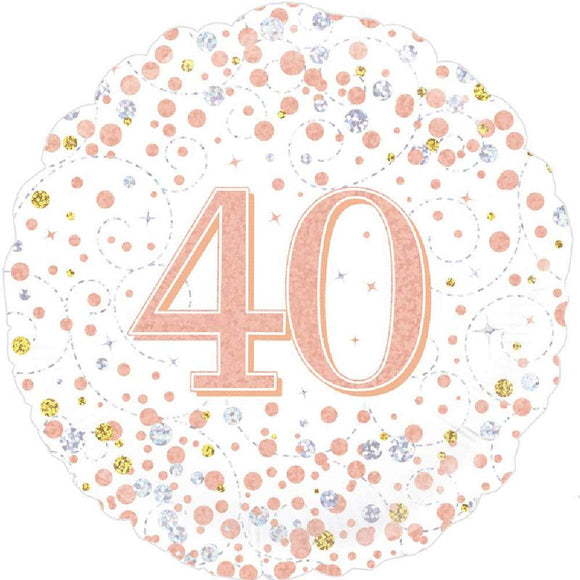 40th Sparkling Fizz And Rose Gold Helium Filled Foil Balloon