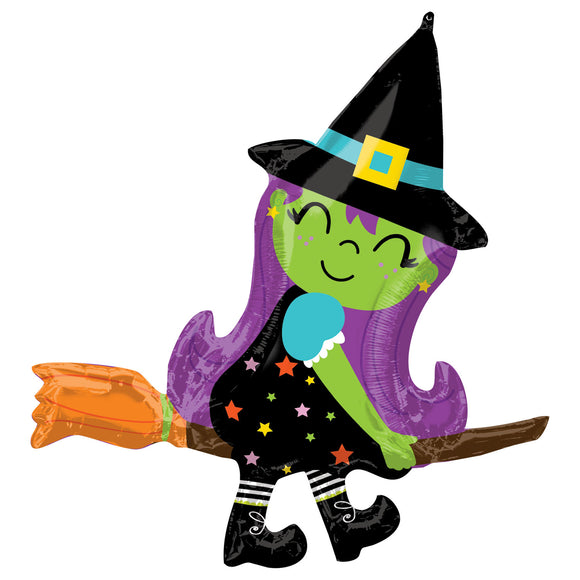 Witch On A Broom Supershape Helium Filled Foil Balloon