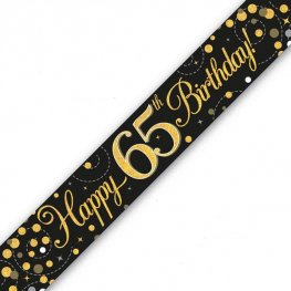 Happy Birthday 65th Sparkling Fizz Black And Gold Banner