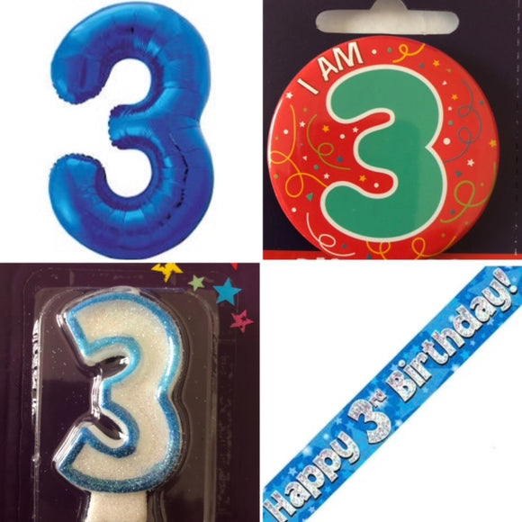 Birthday Bundle Age 1-9 (Supershape Number Foil Balloon, Banner, Badge And Candle)
