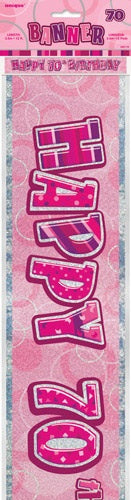 Pink Glitz Happy 70th Birthday Banner