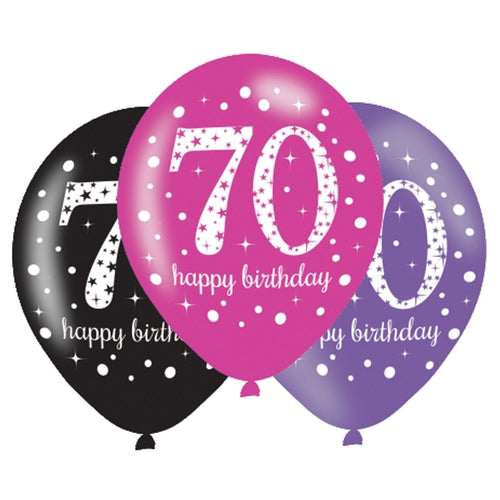 70th Birthday Pink/Purple/Black Latex Balloons (6 Pack)