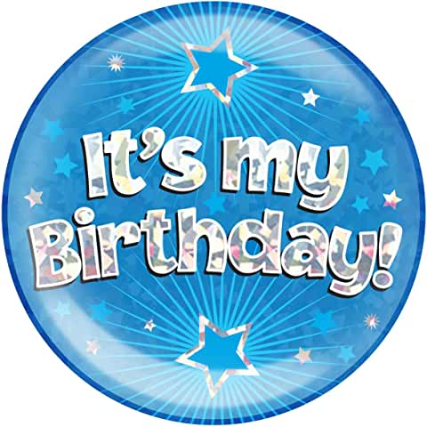 It's My Birthday Blue Glitz Jumbo Badge