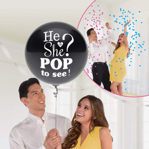 He Or She? Pop To See! Gender Reveal Confetti Balloon