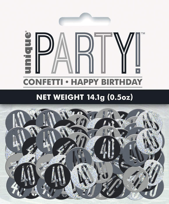 Black And Silver 40 Metallic Confetti 14g