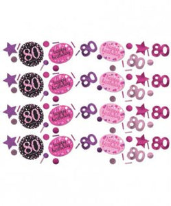 Pink Celebration 80th Birthday Confetti 34g