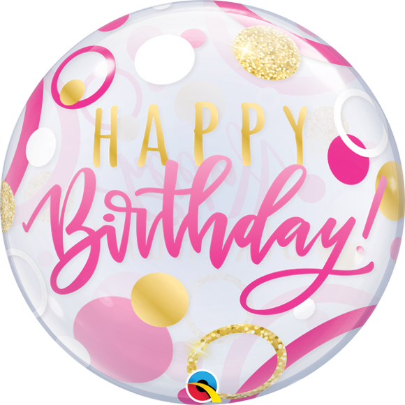 Happy Birthday Pink And Gold Dots Helium Filled Single Bubble Balloon